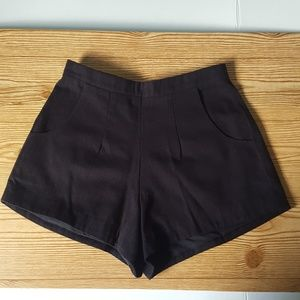 Pants - Black High Rise Shorts with Pockets